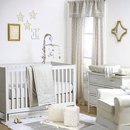 Gold Dot and Chevron 5 Piece Baby Crib Bedding with Bumper b