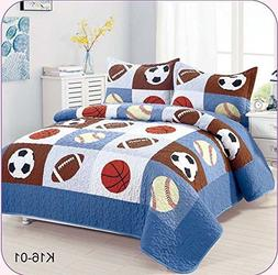 Golden Linens Full Size 3 Pieces Kids Bedspread Quilts for T