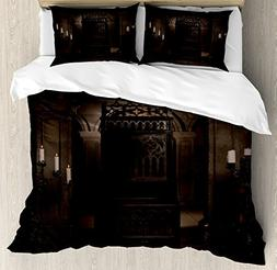 Ambesonne Gothic Decor Duvet Cover Set, Royal Throne in Medi