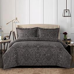 Linencotton - Gray Comforter Set Queen, 3-Piece Dark Grey Da