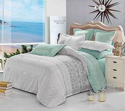Wake In Cloud - Gray Teal Comforter Set Queen, 3-Piece Rever