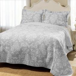 Laura Ashley Gray/White 3- Pc Reversible Cotton Quilt,Coverl
