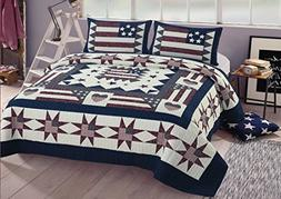 AHT Great America 3 Pc Full/Queen Quilt Bedspread Set
