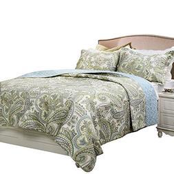 Brandream Green Paisley Printed Bedding Set Luxury Oversized