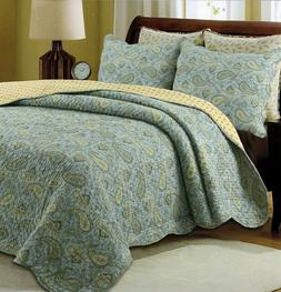 Green Persian 100% Cotton 3-Piece Quilt Set, Bedspread, Cove