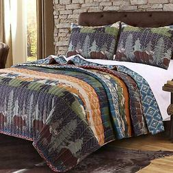 Greenland Home Black Bear Lodge Quilt Bedding Set