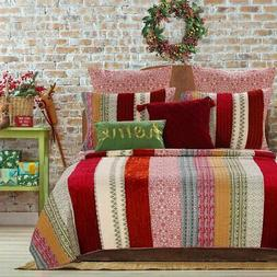 Greenland Home Marley Quilt Set with Pillow Sham, Cranberry
