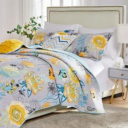 Greenland Home Watercolor Dream 100% Cotton Quilt Set Gray