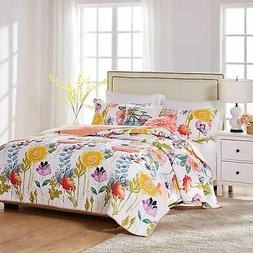 Greenland Home Watercolor Dream Quilt Set, 2-Piece Twin, Whi