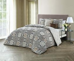Avondale Manor Greer Taupe Reversible 5-pc Queen Comforter S