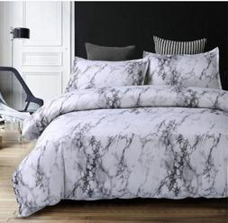 Grey Blue Purple Marble Printed Bedding <font><b>Set</b></fo