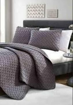 Grey Queen Nina or Shore Embossed Quilt Set