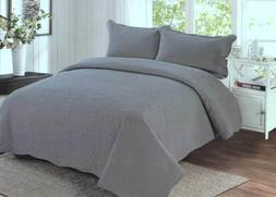 Grey Quilt Set King / Queen 3 Piece Shams Harmonious Mist by