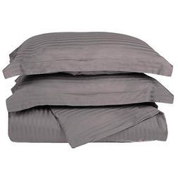 2 Piece Grey Rugby Stripes Duvet Cover Twin Set, Stylish Gra