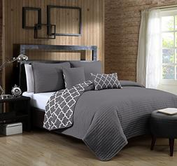 Avondale Manor 5-Piece Griffin Quilt Set, Queen, Grey