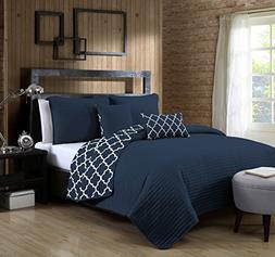 Avondale Manor 5-Piece Griffin Quilt Set, Queen, Navy