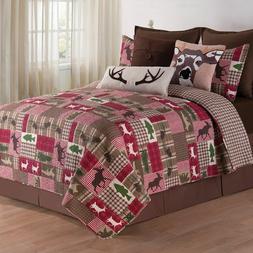 C&F Home Happy Camper Quilt Set, King, Brown, 3 Piece