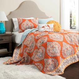 Lush Decor 5 Piece Harley Quilt Set King Tangerine 5 Piece Q