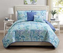 VCNY Harmony 5-Piece Reversible Quilt Set, Full/Queen, Blue