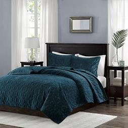 Harper Velvet 3 Piece Coverlet Set Teal King/Cal King