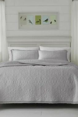 Laura Ashley Heirloom Crochet Grey Quilt Set, King, Pastel