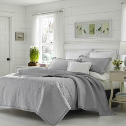 Laura Ashley Heirloom Crochet Grey Quilt Set, King, Pastel G