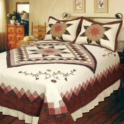 HEIRLOOM STAR 3pc Cal King QUILT SET : RED BROWN COTTON 8 PO