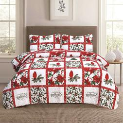 Holiday Patchwork Quilt Bedding Set Cardinal Poinsettia Holl