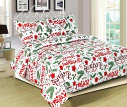 Holiday Quilt Bedding Bed Set Christmas Winter Script, Red a