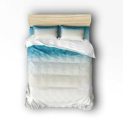 4 Pieces Home Comforter Bedding Set, Beach Ocean Theme, Wavy