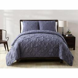 VCNY Home Jackie Pintuck 3 Piece Quilt Set in Blue - Full/Qu