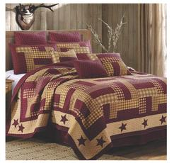 HOMESTEAD RED BARN STAR King QUILT SET : PRIMITIVE FARMHOUSE