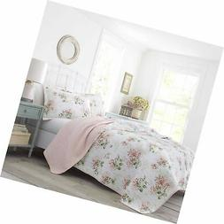 Laura Ashley Honeysuckle Quilt Set, Full/Queen, Pastel Pink