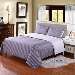 Hotel Quality 100-Percent Cotton Reversible Duvet Cover Set