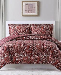 Pem America Hudson Paisley 3-Pc. Comforter Sets King Red