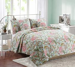 100% Hypoallergenic cotton 3 piece Floral Quilt Set Bedroom