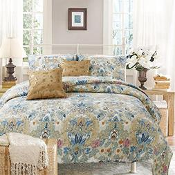 100% Hypoallergenic cotton 3 piece Floral Quilt Set Bedroom