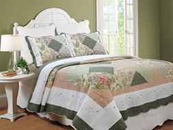 100% Hypoallergenic cotton Patchwork 3 piece Quilt Set Bedr