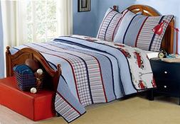 100% Hypoallergenic cotton 2 piece Strip Quilt Set Bedroom
