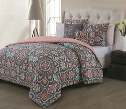 Avondale Manor Ibiza 5-Piece Duvet Cover Set-King, Coral