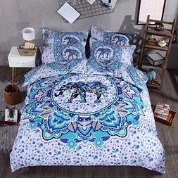 Sandyshow 3PC India Elephant Bedding Full/Queen Bohemia Micr