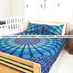 NEW Full Indian Medallion Cotton Mandala blue Ombre Duvet Co