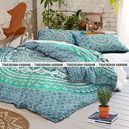 NEW Full Indian Medallion Cotton Mandala green ombre Duvet C