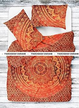 NEW Full Indian Medallion ORANGE OMBRE JAIPURI RAZAI Quilted