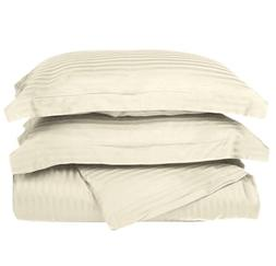 3 Piece Ivory Rugby Stripes Duvet Cover King/ Cal King Set,