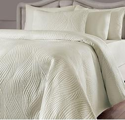 UKN 2 Piece Ivory Solid Swirl Stripes Pattern Quilt Twin Set