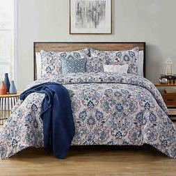 VCNY Home Janine 7Pc Damask Quilt Set - Navy - Size: Full/Qu
