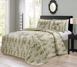 KAMA 3PC Luxury Embroidery Bamboo Forest Reversible Quilted