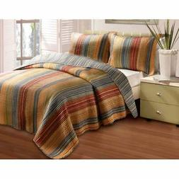 katy 3 piece striped quilt set