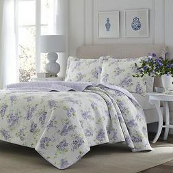 Laura Ashley Keighley Lilac 3-Piece Quilt Set, Cotton, Twin/